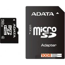 Карта памяти A-Data microSDHC (Class 4) 32GB + SD адаптер (AUSDH32GCL4-RA1)
