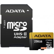 Карта памяти A-Data microSDXC UHS-II 256GB + адаптер [AUSDX256GUII3CL10-CA1]
