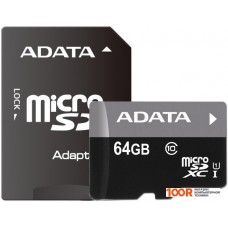 Карта памяти A-Data Premier microSDXC UHS-I U1 Class 10 64GB (AUSDX64GUICL10-RA1)